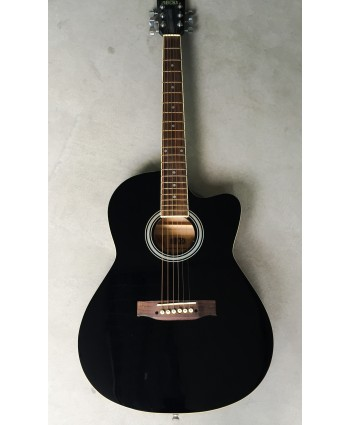 ROCKS ACOUSTIC GUITAR W/CUTAWAY BLACK 39""